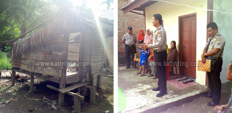 Kiri: Rumah Nenenk Sutria sebelum sebelum diganti - Kanan: Kapolres Mamuju menyerahkan bantuan rumah untuk nenek Sutria