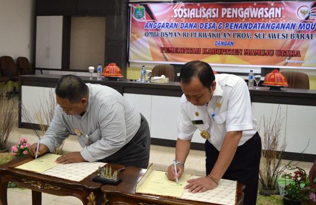 Kepala Ombudsman Sulbar dan Bupati Matra teken MoU