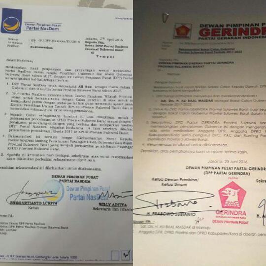 Foto rekomendasi Partai Nasdem dan Gerindra Sulbar