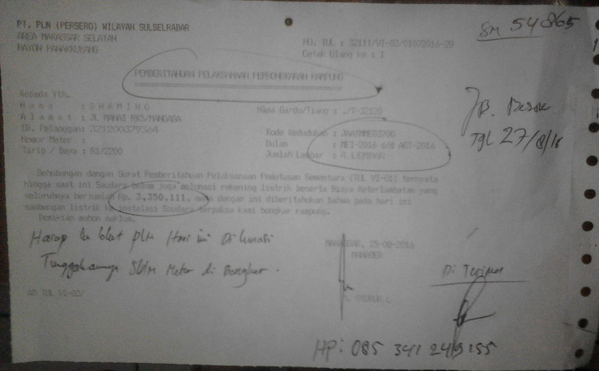 Surat Pemberitahuan Pembongkaran Meteran Listrik
