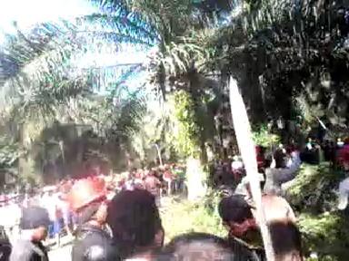 foto warga bersenjata parang dan tombak saat terlibat ketegangan dengan kariawan pt unggul