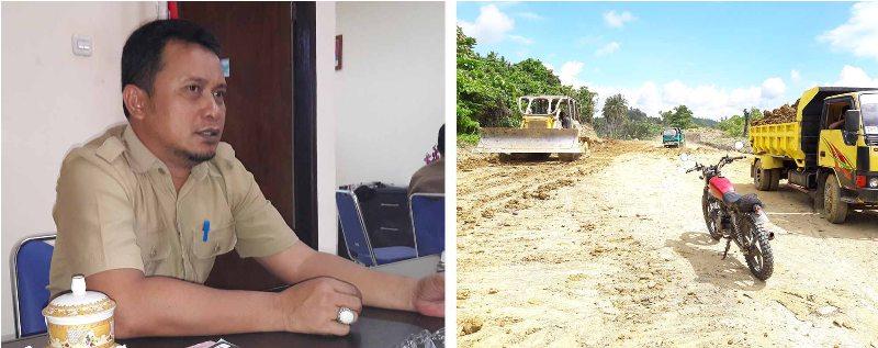 [kiri] Budiansyah, Plt Kadis PU Matra, [kana] Proyek pelebaran jalan yang menghubungkan kota Pasangkayu dengan Pelabuhan Kargo Tanasa