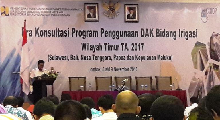 Suasana Acara Pra Konsultasi Program Penggunaan DAK Bidang Irigasi Wilayah Timur Tahum Anggaran 2017